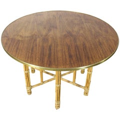 Round Rosewood and Brass Dining Table with Bamboo Base