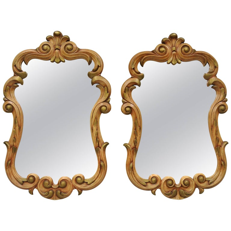 bcb8a09df1a1 Large Pair of French Rococo Style Wall Mirrors Carved Wood Pink and Gold  Painted For Sale