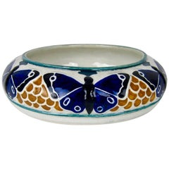 Early 20th Century Rörstrand Butterfly Low Bowl by Alf Wallander