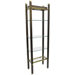 Paul M Jones Bronze Brass Glass Illuminating Modern Etagere Curio Display Shelf