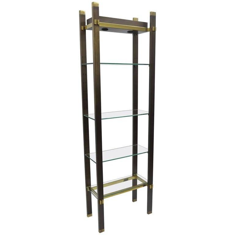 Bronze Brass and Glass Illuminating Modern Étagère Curio Shelf by Paul M Jones