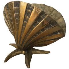 Nautical Brass Shell and Starfish Motif Lamp