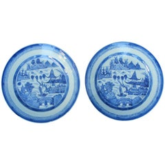 Pair of Chinese Blue and White Canton Plates