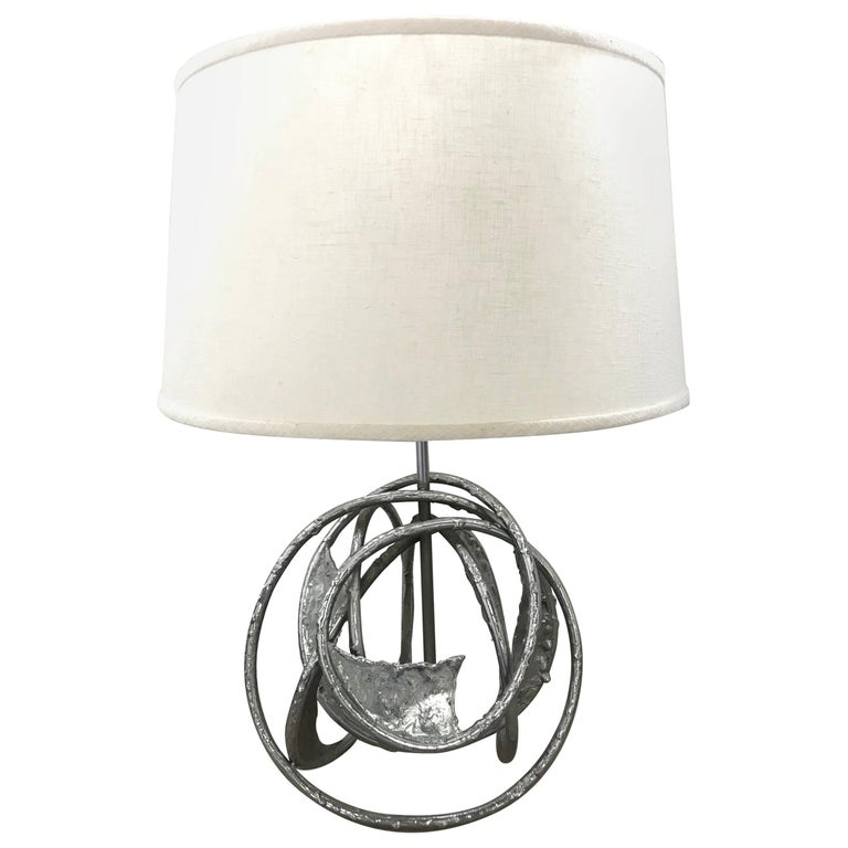 Marcello Fantoni Style Brutalist Chrome Sculpture Lamp