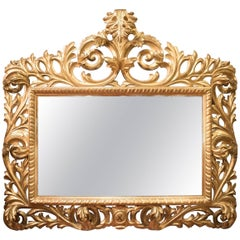 Carved Gilded Wooden Mirror from France, 19th Century, Napoleón III