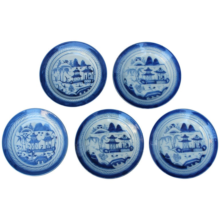 Set of Five Chinese Blue and White Canton Plates For Sale