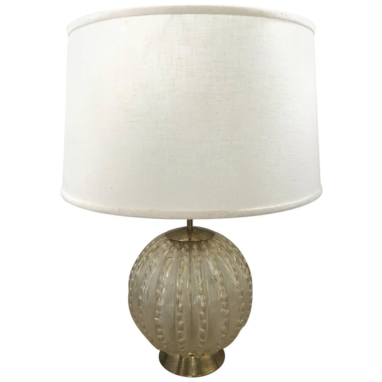 Gold Murano Glass Lamp by Barovier and Toso