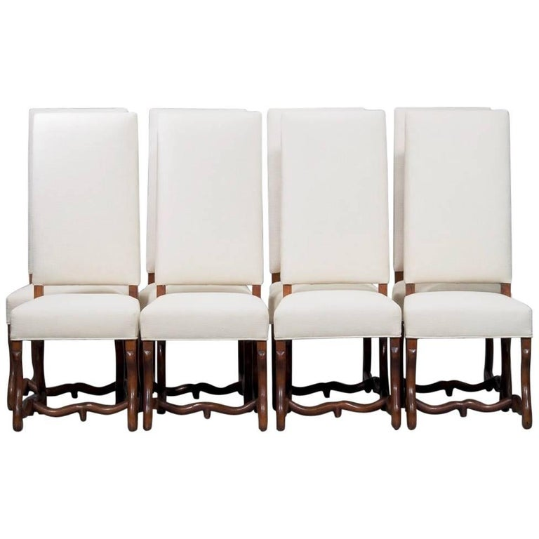 Set of Eight Newly Upholstered Os de Mouton Chairs