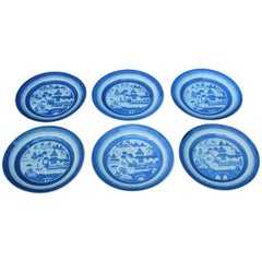 Set of Six Chinese Blue and White Canton Plates