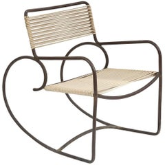 Walter Lamb Bronze and Cord Rocking Chair