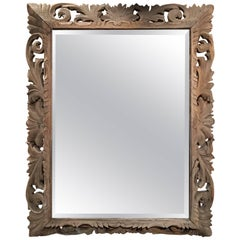 Bleached French Carved Wood Beveled Mirror, 19th Century