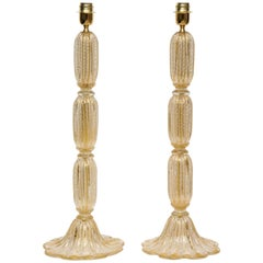 Tall Pair of Seguso Style 23-Karat Speckled Gold Murano Glass Lamps, Italy