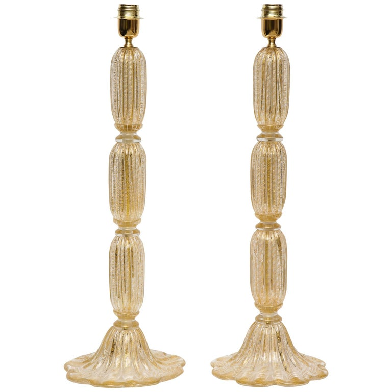 Tall Pair of Seguso Style 23-Karat Speckled Gold Murano Glass Lamps, Italy For Sale