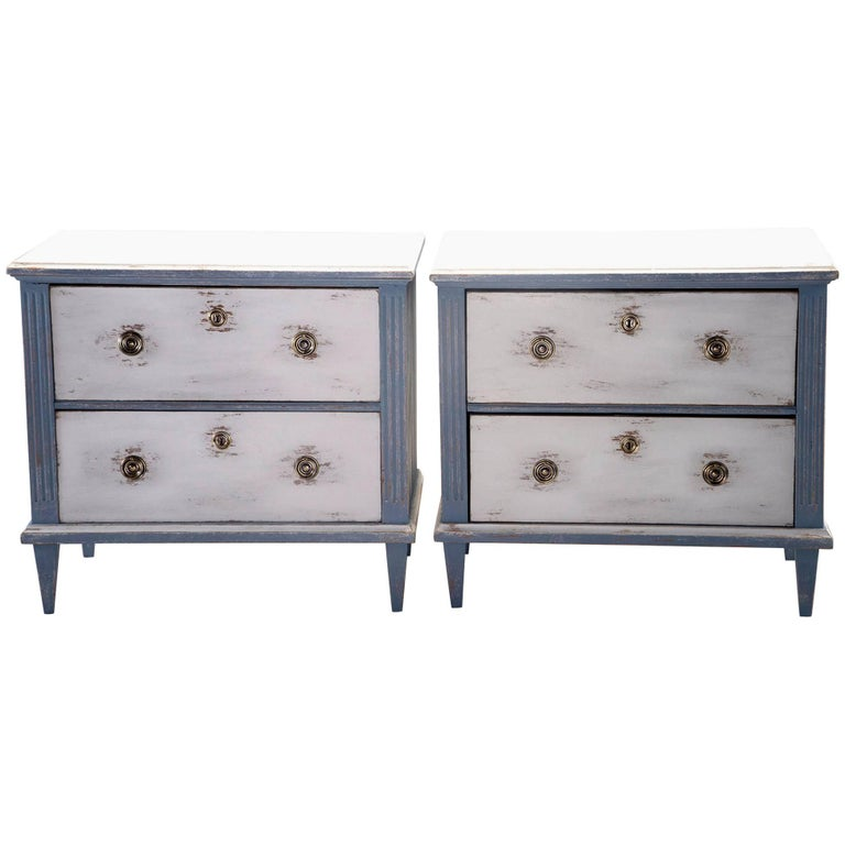 Pair Of Blue And White Painted Two Drawer Chests For