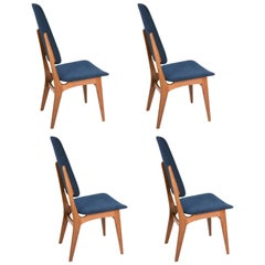 Set of Four Sorheim Bruk's Afromosia High Back Dining Chairs of Norway