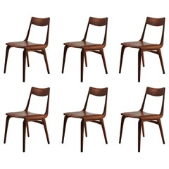 1950s Set of Six Erik Christiansen Boomerang Chairs in Teak and Brown Leather