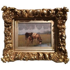 "French Framed Oil on Board ""Landscape with Grazing Cows"", 19th Century"