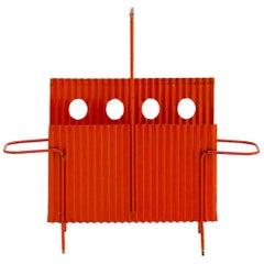 Orange Magazine Rack from Java Collection by Mathieu Matégot, circa 1950, France