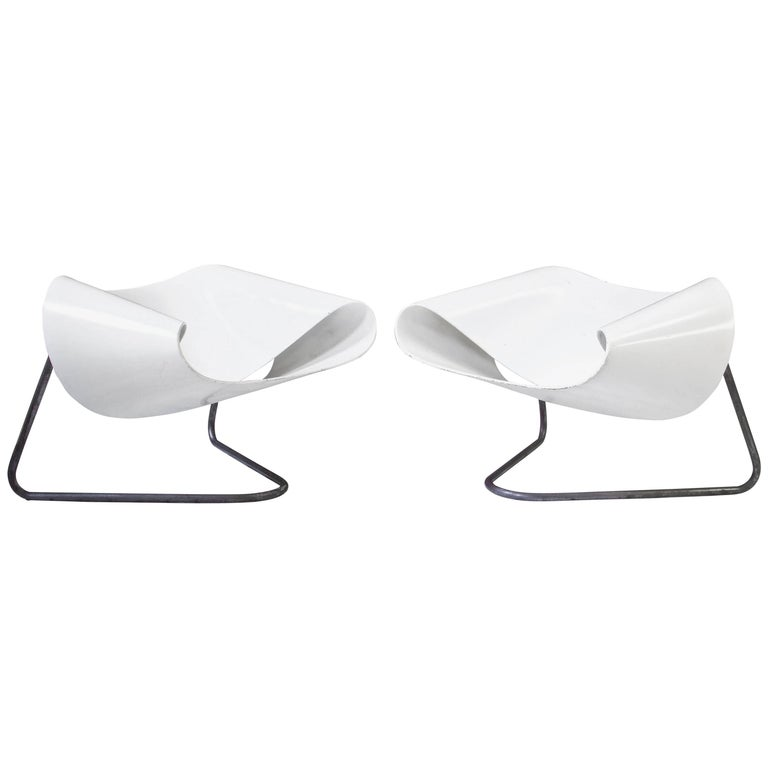 """Vintage Pair of CL-9 """"Ribbon"""" Lounge Chairs by Stagi & Leonardi, 1961"""