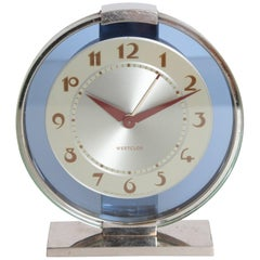 Machine Age Art Deco Westclox Desk Clock Chrome with Cobalt Glass