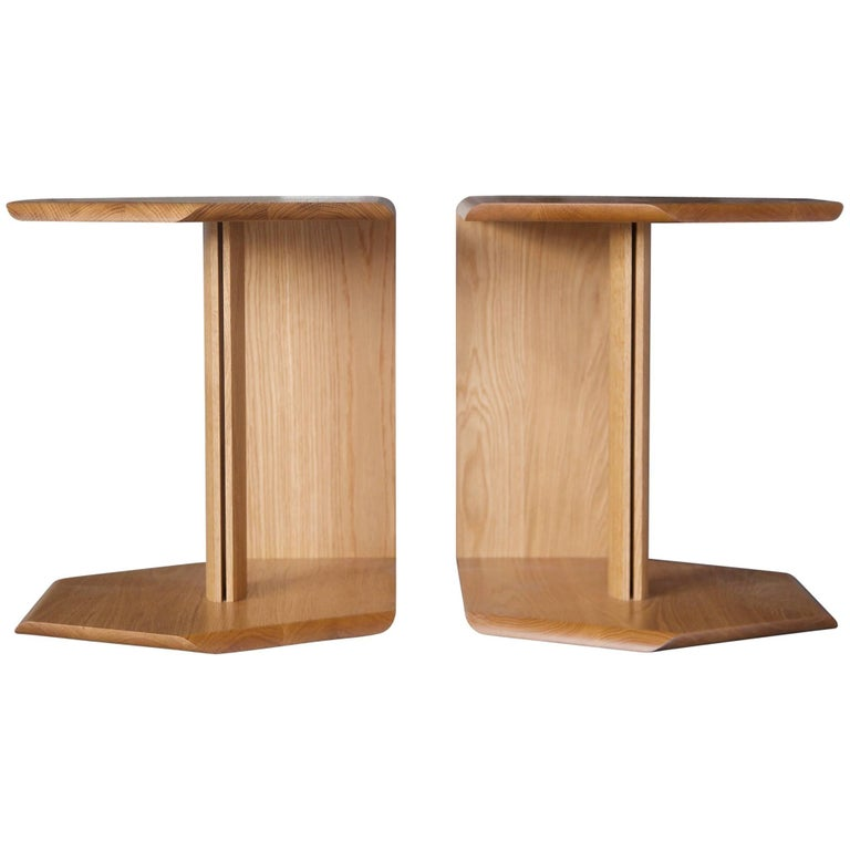 Geometric Solid Wood Reflecting Side Tables by BELLBOY For Sale