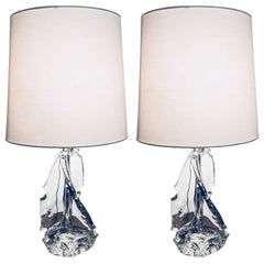 Large Pair of Schneider Crystal France, 1960, Table Lamps