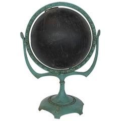 Antique Metal Chalkboard Globe on Cast Iron Base