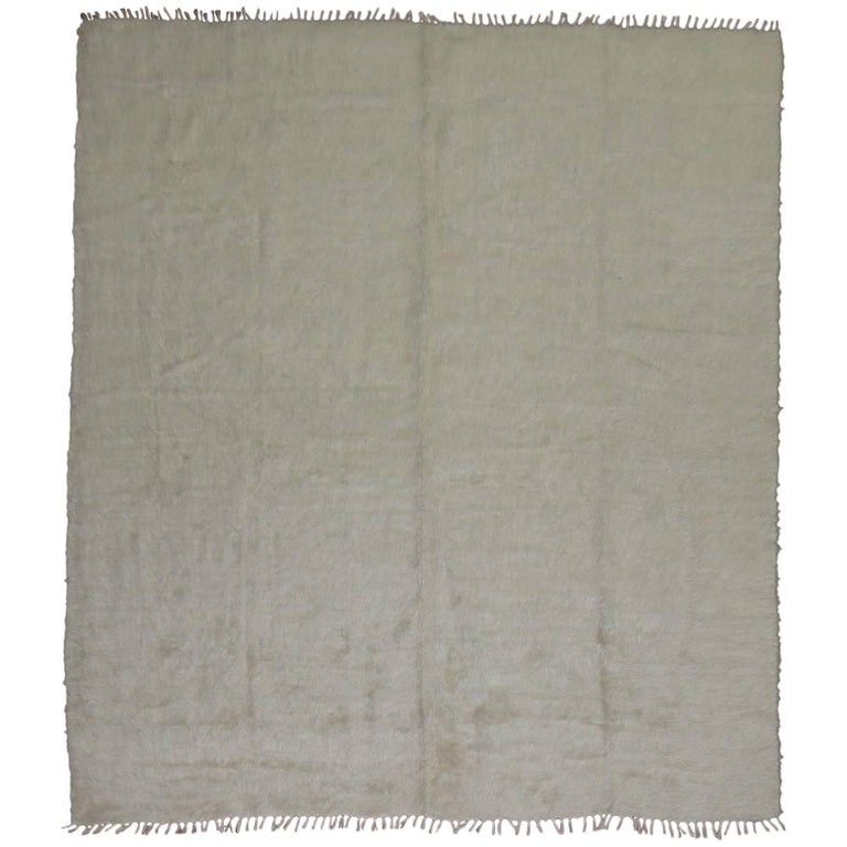 Ivory Vintage Mohair Rug For Sale