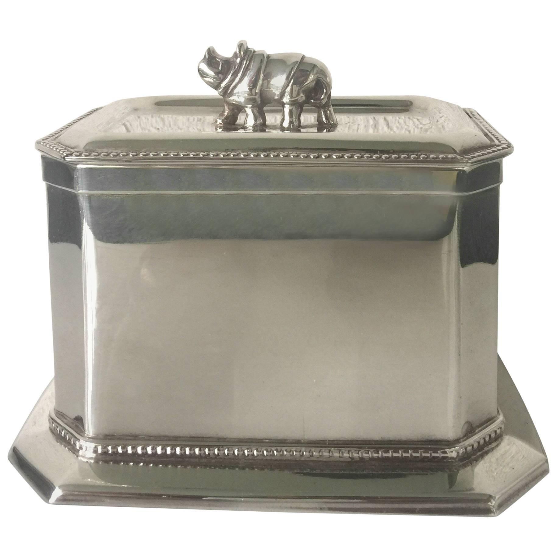 """Rhino"" Silverplate Lidded Box"