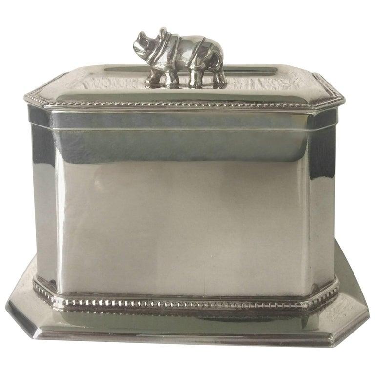 """Rhino"" Silverplate Lidded Box For Sale"