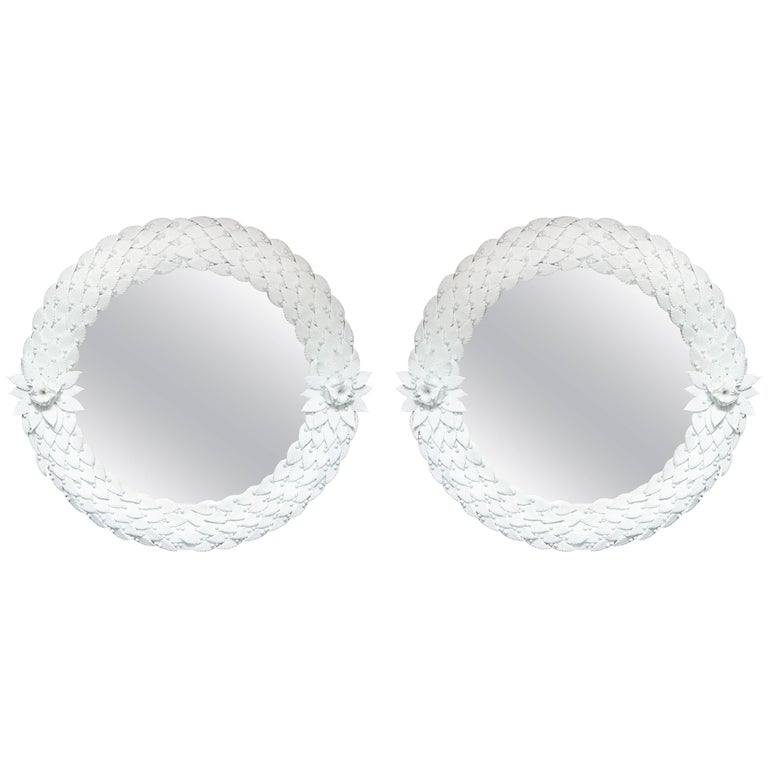 "Large Pair of White Murano Glass Round Mirrors, Italy, circa 1980, 42"" diam. For Sale"