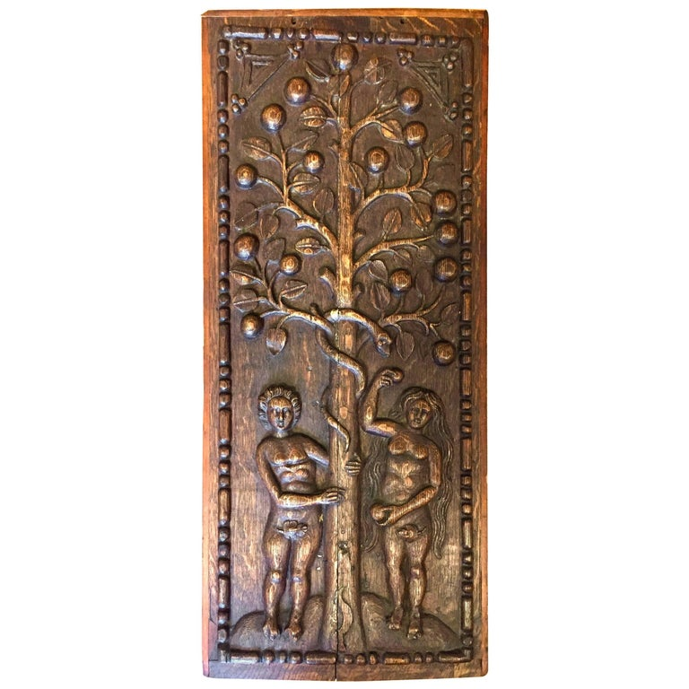 Folky 17th Century Carved Panel Adam and Eve