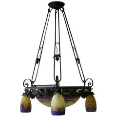 French Art Deco Glass and Iron Chandelier by Muller Freres, Luneville