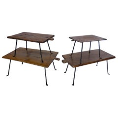 Set of Four Antique Wooden Small Tray Tables with Forged Iron Legs