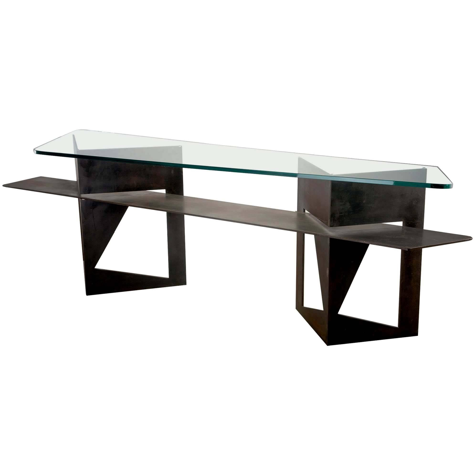 Extra Large Brutalist Console with Iron Base and Glass Top