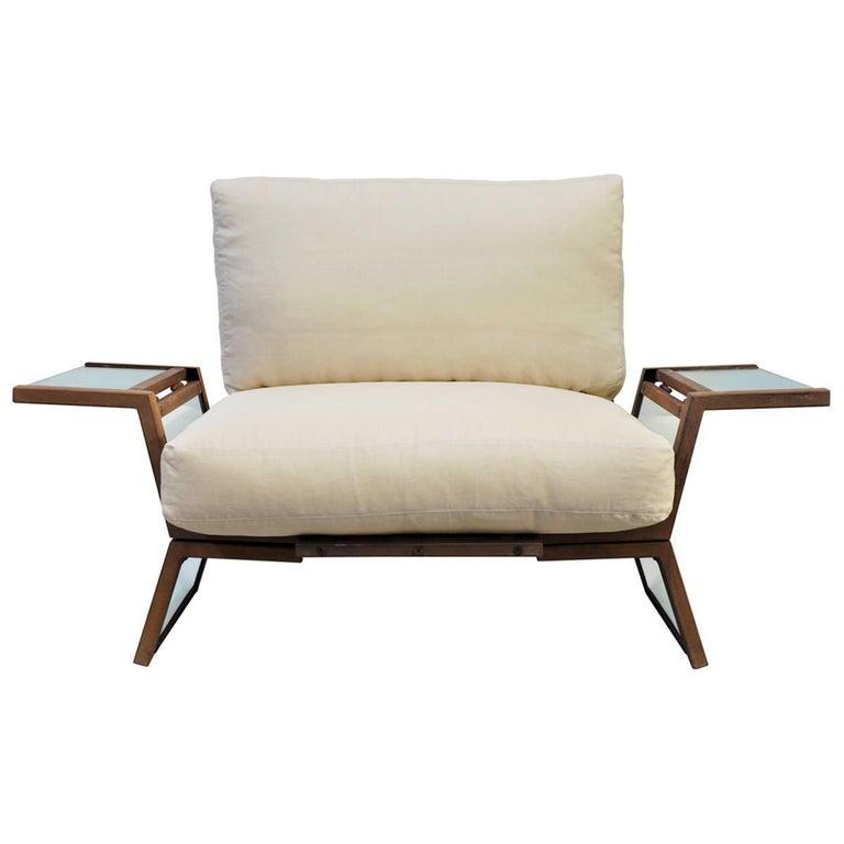 Contemporary Armchair in Italian Walnut, Steel & Glass w/ Italian Linen Cushions