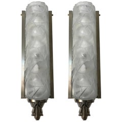 Stunning Pair of French Art Deco Wall Sconces Signed by Degue