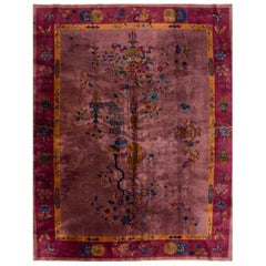 1920s Purple and Gold Chinese Art Deco Carpet