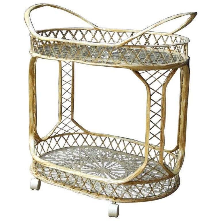Hollywood Regency Russell Woodard Spun Fiberglass Rolling Bar Cart