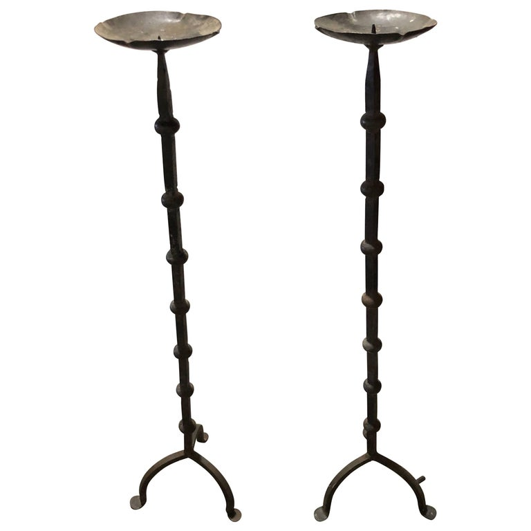 Pair of Gothic Hand-Wrought Iron Candle Stands