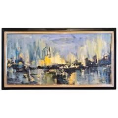 Mid Century Cityscape Painting