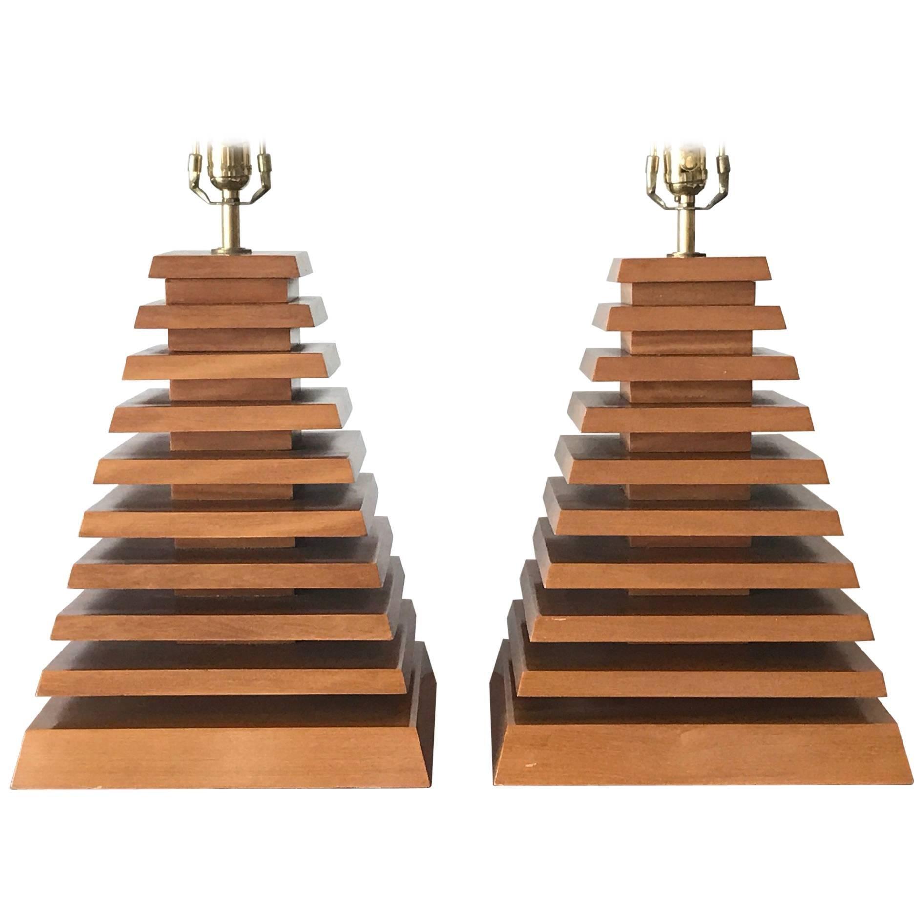 Pair of Unusual Pyramid Lamps