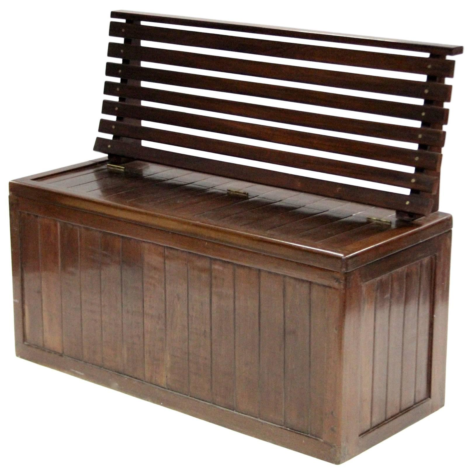 Slatted Hardwood Shipu0027s Deck Seat With Life Jacket Storage Mid 20th Century  For Sale