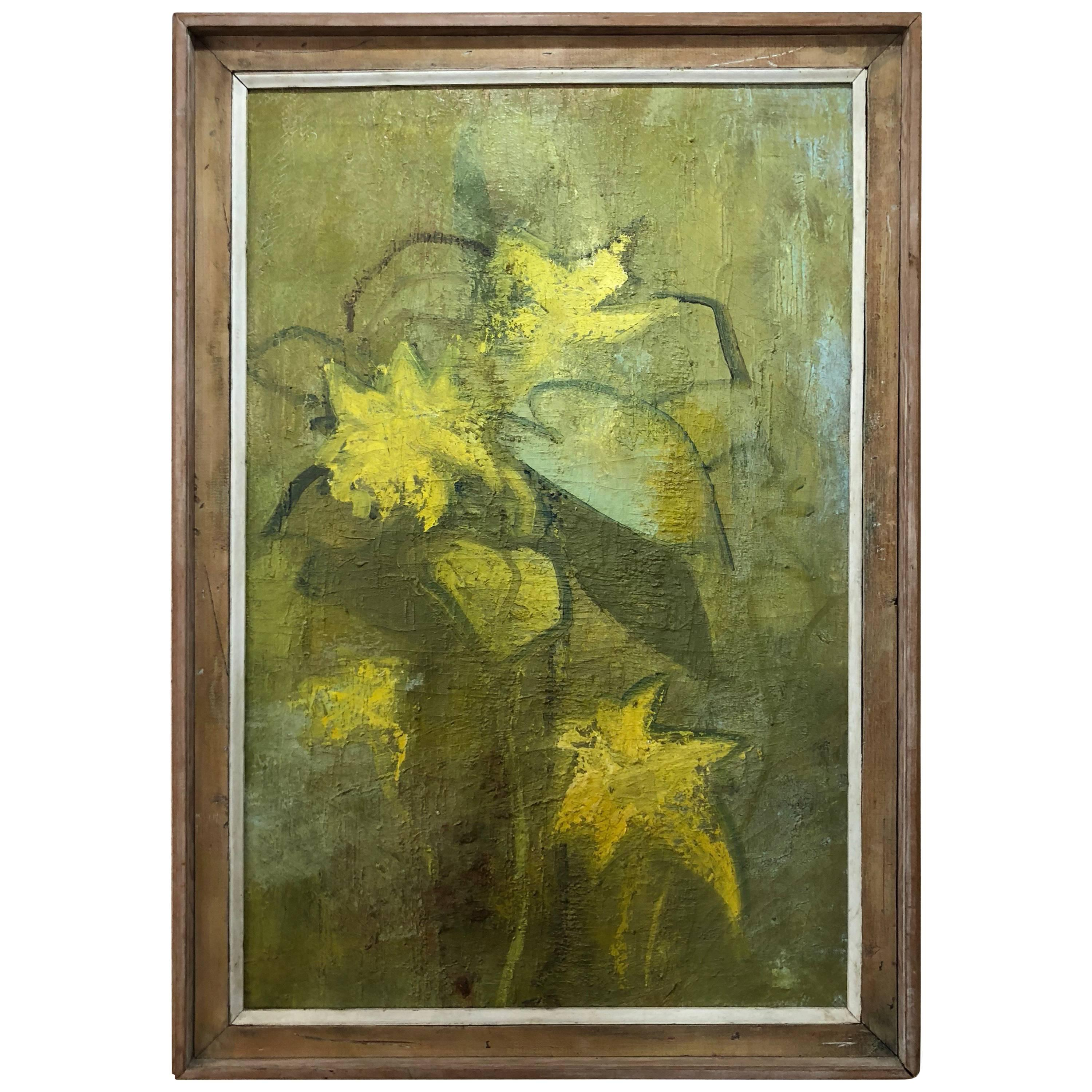 """Mid Century Signed Abstract Still Life Titled """"Spring Flowers"""""""