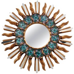 1970s Spanish Colonial Style Giltwood Mini Sunburst Mirror with Painted Glasses