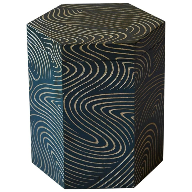 Hexagonal Dark Blue Box with Carved Gilded Graphic Pattern For Sale