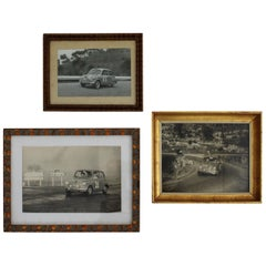 Set of Three 1960s Vintage Black and White Fiat Seat 600 Car Photographs