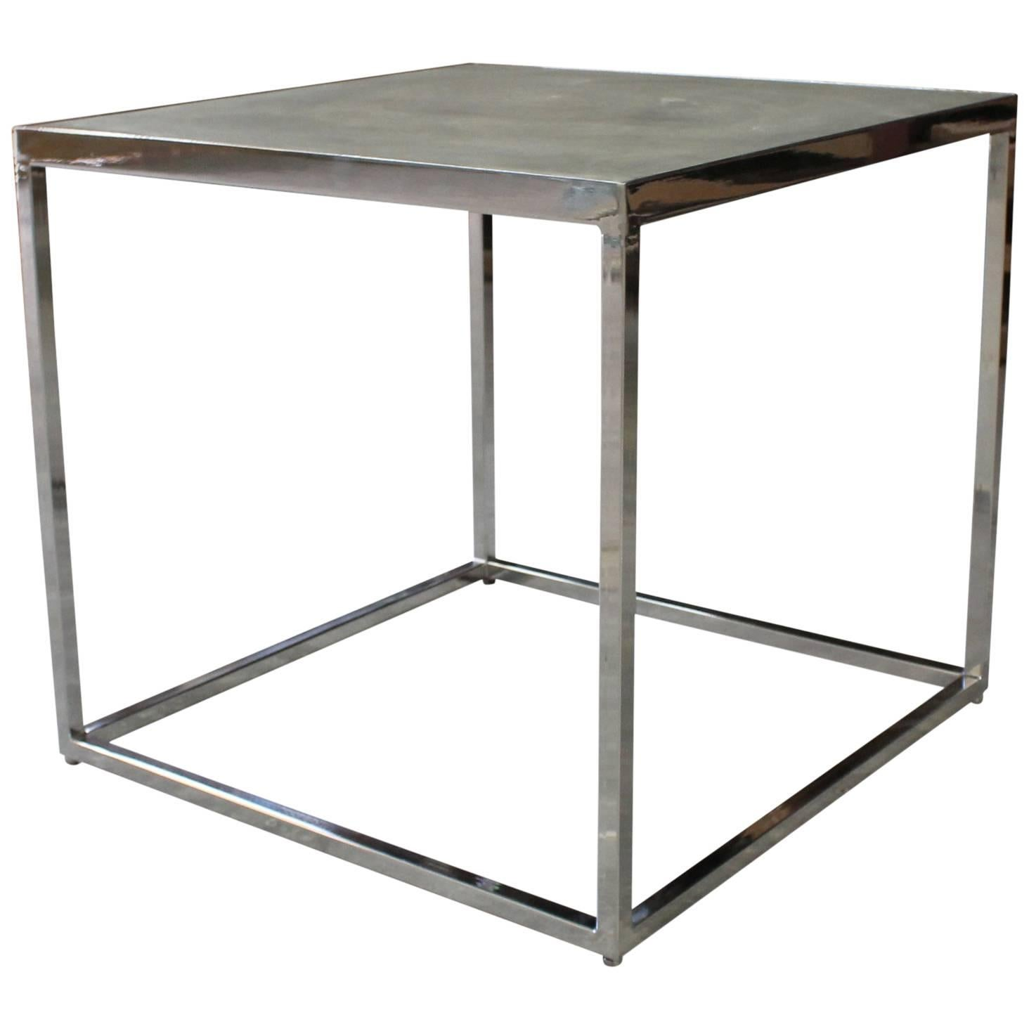 Polished Steel and Concrete Side Table by Costantini, Jesse