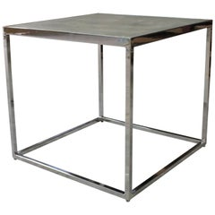 Jesse Polished Steel and Concrete Side Table by Costantini