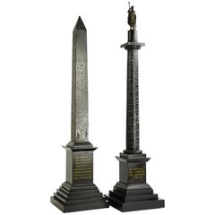 Pair of Rare Grand Tour Models of the Marcus Aurelius Column and Solar Obelisk